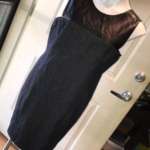 RALPH LAUREN faux leather and denim dress